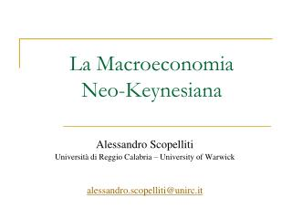 La Macroeconomia Neo-Keynesiana