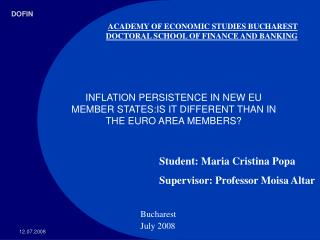 ACADEMY OF ECONOMIC STUDIES BUCHAREST  DOCTORAL SCHOOL OF FINANCE AND BANKING