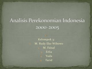 Analisis Perekonomian  Indonesia 2000-2005