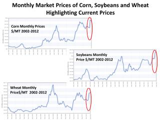 Corn  Monthly Prices  $/ MT 2002-2012