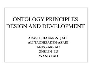 ONTOLOGY PRINCIPLES DESIGN AND DEVELOPMENT