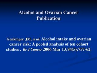 Alcohol and Ovarian Cancer Publication