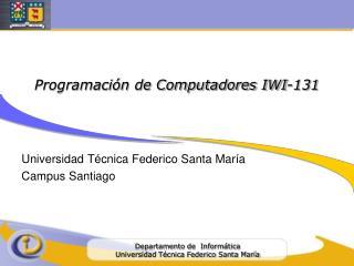 Programaci�n de Computadores IWI-131