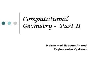 Computational Geometry -  Part II