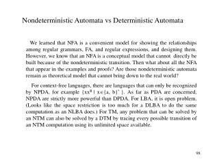 Nondeterministic Automata vs Deterministic Automata