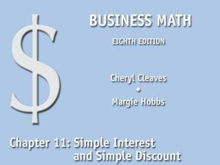 11.1 The Simple Interest Formula
