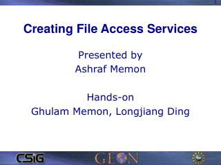Creating File Access Services