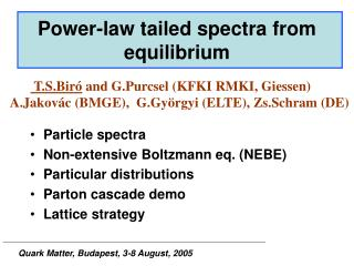 Power-law tailed spectra from equilibrium