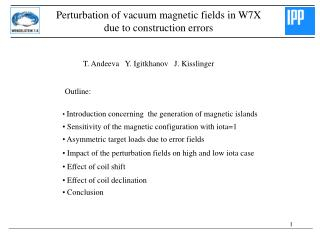 Perturbation of vacuum magnetic fields in W7X  due to construction errors