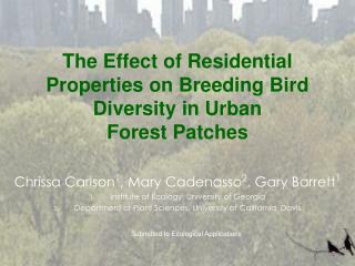 The Effect of Residential Properties on Breeding Bird Diversity in Urban Forest Patches