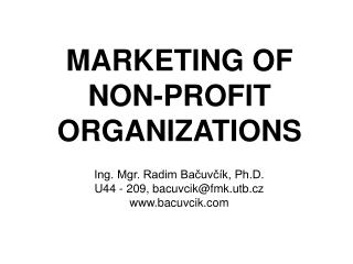 MARKETING OF NON-PROFIT ORGANI Z ATIONS