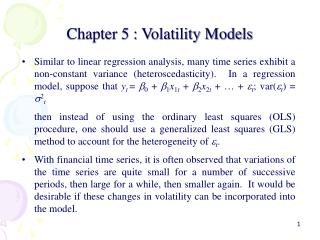 Chapter 5 : Volatility Models