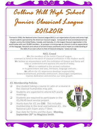 Collins Hill High School Junior Classical League 2011-2012