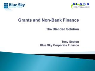Grants and Non-Bank Finance  The Blended Solution  Tony Seaton  Blue Sky Corporate Finance