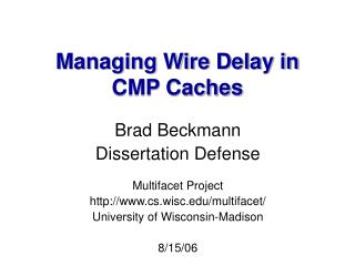 Managing Wire Delay in CMP Caches