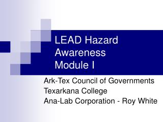 LEAD Hazard Awareness Module I