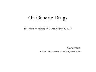 On Generic Drugs