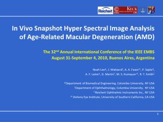 In Vivo Snapshot Hyper Spectral Image Analysis of Age-Related Macular Degeneration (AMD)