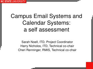 Campus Email Systems and Calendar Systems:  a self assessment