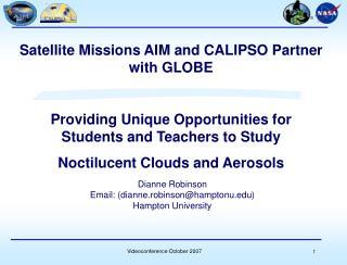 Dianne Robinson  Email: (dianne.robinson@hamptonu) Hampton University
