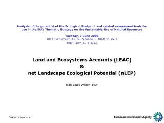 Land and Ecosystems Accounts (LEAC) & net Landscape Ecological Potential (nLEP)