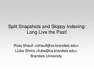 Split Snapshots and Skippy Indexing: Long Live the Past!