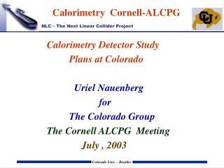 Calorimetry  Cornell-ALCPG
