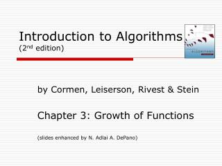 Introduction to Algorithms (2 nd  edition)