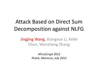 Attack Based on Direct Sum Decomposition against NLFG