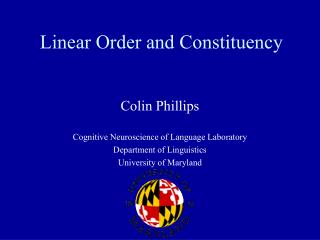 Linear Order and Constituency
