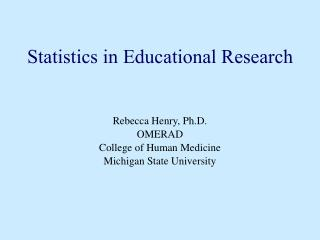 Statistics in Educational Research
