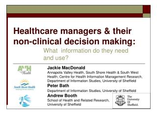 Healthcare managers  their non-clinical decision making:
