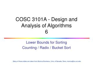 COSC 3101A - Design and Analysis of Algorithms 6