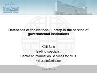 Databases of the National Library in the service of governmental institutions