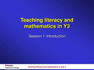 Teaching literacy and mathematics in Y3