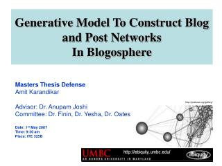 Generative Model To Construct Blog and Post Networks  In Blogosphere
