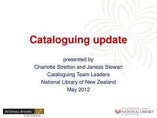 Cataloguing update