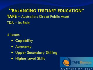 BALANCING TERTIARY EDUCATION
