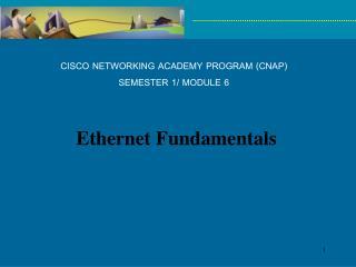 CISCO NETWORKING ACADEMY PROGRAM (CNAP) SEMESTER 1/ MODULE 6