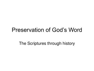 Preservation of God's Word