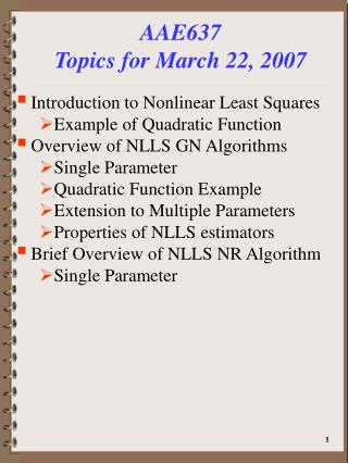 AAE637 Topics for March 22, 2007
