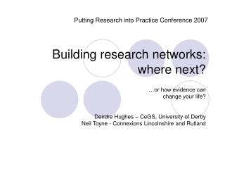 Building research networks: where next?