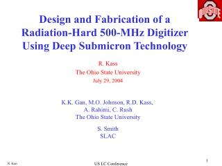 Design and Fabrication of a Radiation-Hard 500-MHz Digitizer Using Deep Submicron Technology