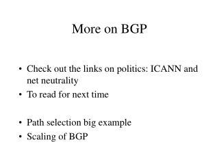 More on BGP