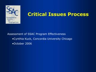 Critical Issues Process