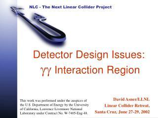 Detector Design Issues: gg  Interaction Region