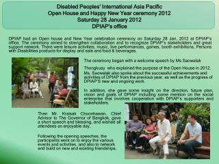 Disabled Peoples' International Asia Pacific  Open House and Happy New Year ceremony 2012