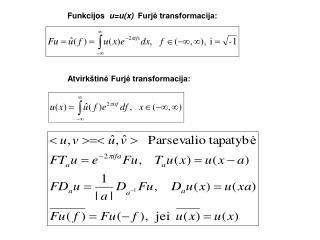 Funkcijos u =u(x) Furjė transformacija: