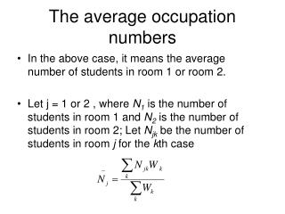 The average occupation numbers