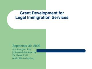 Grant Development for Legal Immigration Services